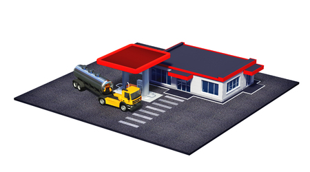 opec: 3d rendered illustration of gas station with fuel semi truck and mini-mart or coffe shop isolated on white Stock Photo