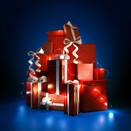 3d illustration of a gift boxes on dark blue background