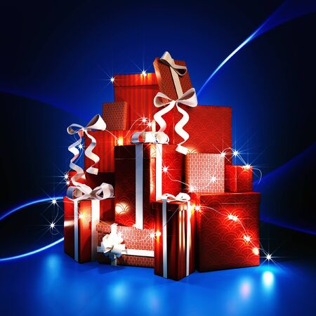 3d illustration of a gift boxes with shining rays on dark blue background Stock Photo