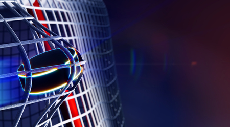 3d rendered illustration of puck in net of ice hockey goal. The puck with shining lines. Goals with depth of field dof effects. Place for copyspace text. Stock Photo