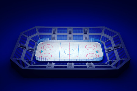 3d rendered illustration of an ice hockey arena on blue background