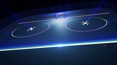 3d rendered illustration of hockey ice rink and goal. Shining lines on ice.