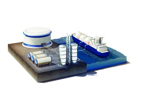 tanque de combustible: 3d rindió la ilustración de la sección transversal del mar con aceite líquido a granel o camión cisterna de gas, el gas o el petróleo en el transporte de la estación de tierra. Aislado en blanco