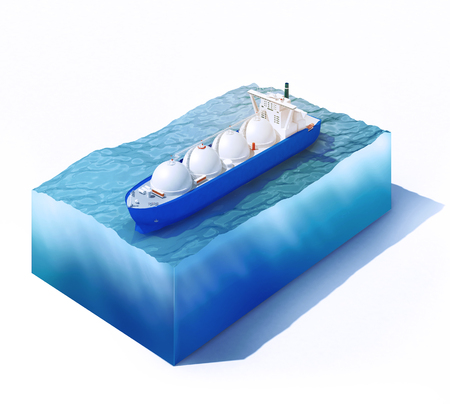 3d rendered illustration of liquid natural gas tanker on part of ocean isolated on white