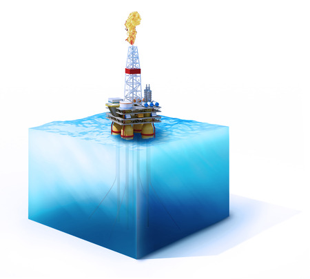 petroleum blue: 3d rendered illustration of  on cross section of ocean with oil platform isolated on white