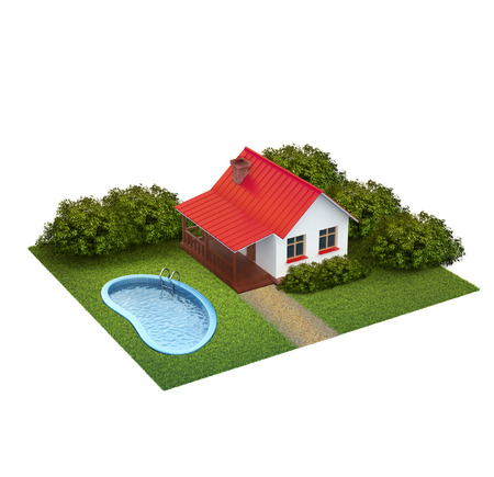 A piece of land with lawn with house, bushes and swimming pool isolated on white