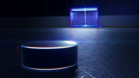 3d rendered illustration of hockey ice rink, puck and goal. Scratches on ice. Shining lines on puck Stock Photo