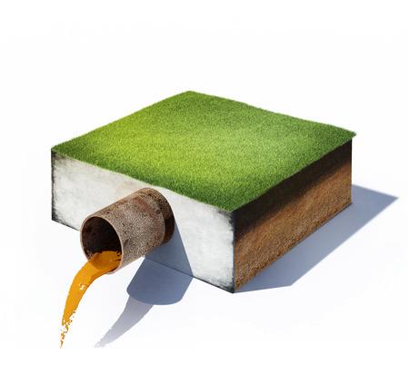 contaminacion del agua: 3d ilustración de agua sucia fluye de una tubería en la sección transversal del suelo con hierba aislado en blanco