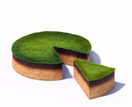 suelo arenoso: 3d rindió la ilustración de sección transversal rodajas de terreno con hierba aislado sobre fondo blanco