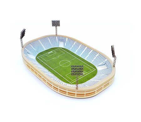 3d illustration of stadium with soccer field with the light stands isolated on white Stock Photo