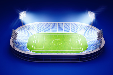 football world cup: 3d illustration of stadium with soccer field with the lights on dark blue background Stock Photo
