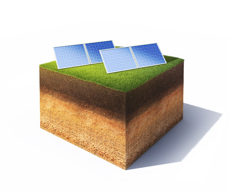 3d illustration of cross section of ground with solar panels isolated on white Stock Photo