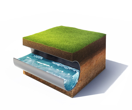 3d model of cross section of ground with grass and steel pipe with water isolated on white