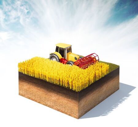 produce sections: 3d rendered illustration of tractor harvester harvesting wheat on a cross section of ground isolated on white Stock Photo