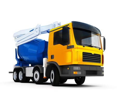 3d illustration of big concrete mixer truck