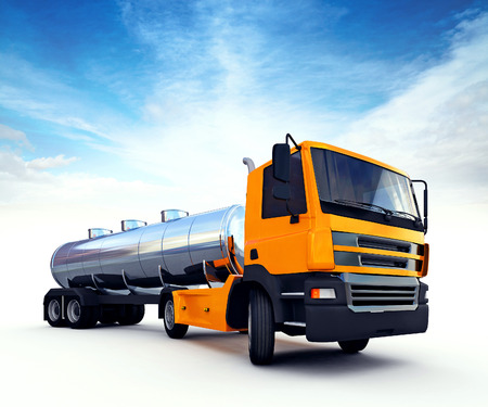 3d illustration of big orange fuel tanker truck
