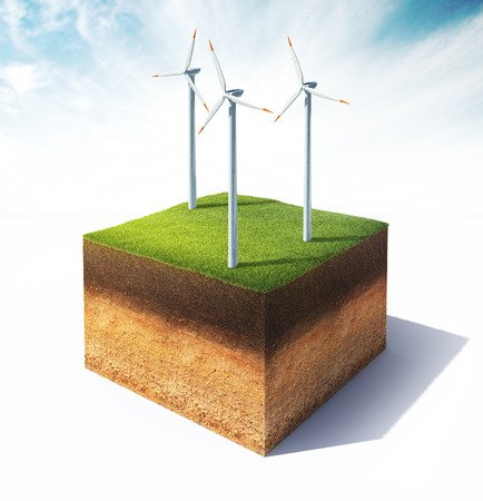 3d illustration of cross section of ground with wind turbine isolated on white
