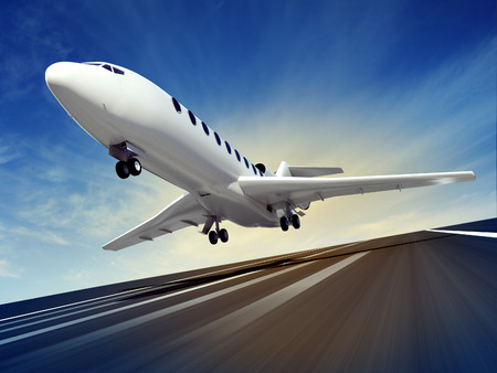 3d illustration of a passenger plane fly up over take-off runway from airport Stock Photo