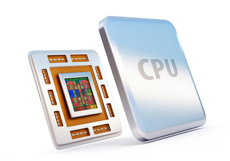 data processors: 3d rendered illustration of computer cpu (central processor unit) chip isolated on white