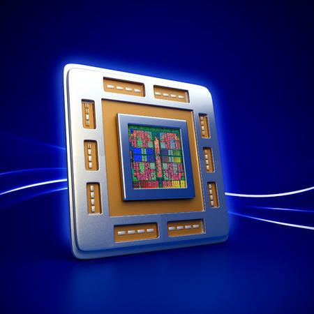 3d rendered illustration of computer cpu (central processor unit) chip on blue background