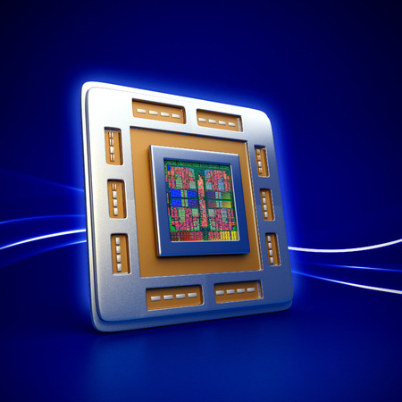 microprocessors: 3d rendered illustration of computer cpu (central processor unit) chip on blue background