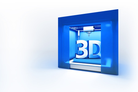 3d rendered illustration of electronic three dimensional printer isolated on white background, printing symbol 3d Stock Photo