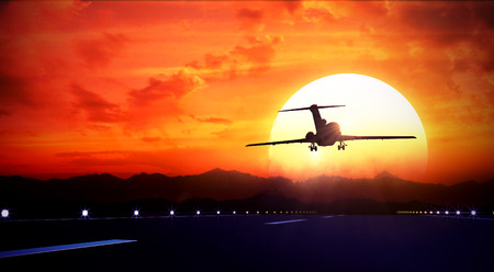 3d rendered illustration of big jet passenger plane fly up over take-off runway from airport and fliyng out in sunset sky Standard-Bild