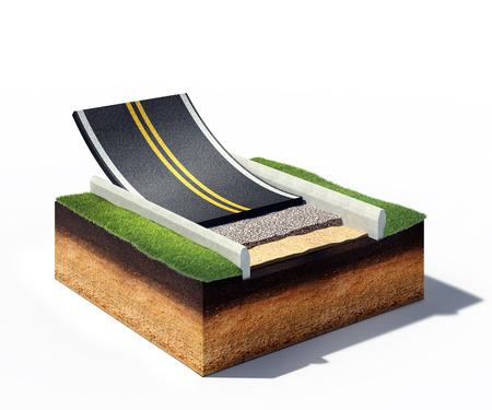 road paving: 3d ilustraci�n de la secci�n transversal de la carretera de asfalto pavimentaci�n aislada en blanco Foto de archivo