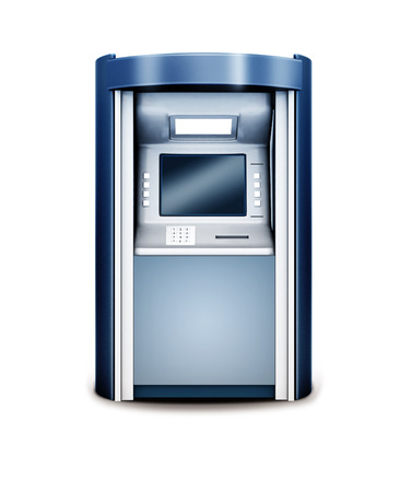 cashpoint: 3d illustration of Automated teller machine isolated on white