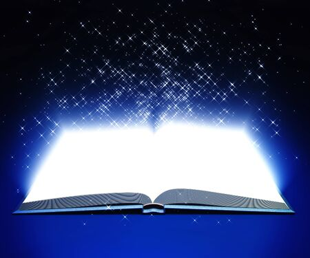 3d model of open white book with shining stars on dark-blue background Stock Photo