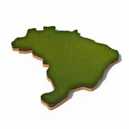 cross section: 3d rendered illustration of cross section map of Brazil isolated on white