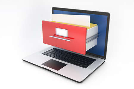 Laptop and archive box. 3D illustration isolated Stock Photo