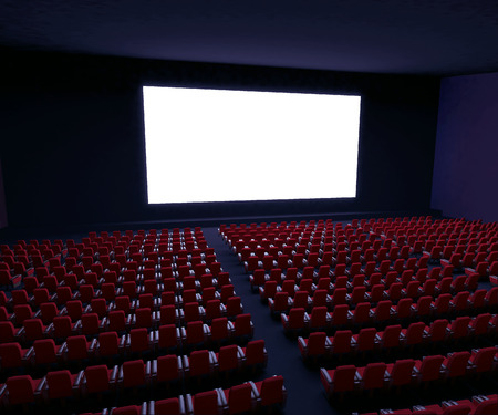 3d rendered illustration of cinema screen with rows of red seats