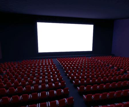 3d übertrug Abbildung Kinoleinwand mit Reihen von roten Sitzen