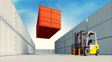3d rendered illustration of an industrial port with containers. Loading container on 3d view generated background