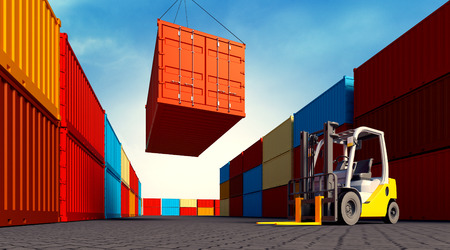 3d rendered illustration of an industrial port with containers and forklift. Loading container.