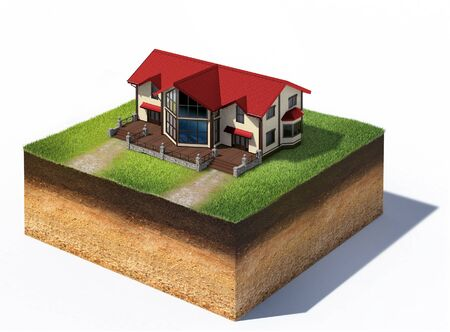 3d illustration of cross section of ground with house residential isolated on white