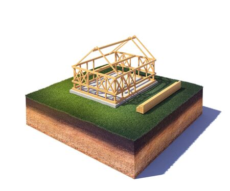 3d rendered illustration of cross section of ground with a new house under construction in countryside isolated on white