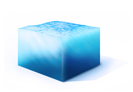 conserve: 3d rendered illustration of  on cross section of water cube isolated on white