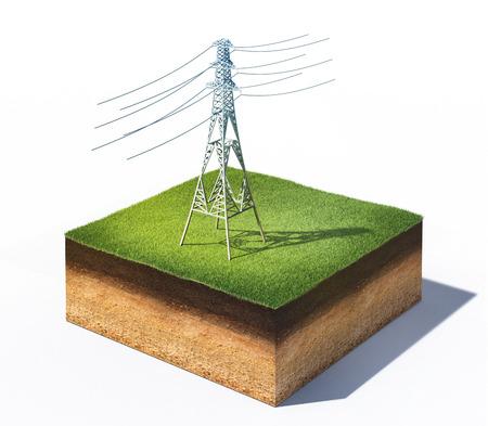 3d ilustracją wysokiego napięcia elektrycznego wieży stojącej na przekroju ziemi z trawy samodzielnie na białym tle