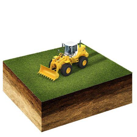 front end loader: 3d illustration of cross section of ground with grass and front end loader isolated on white Stock Photo