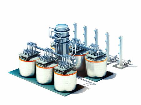 Modelo 3d de la fábrica de la refinería de petróleo aislado en blanco