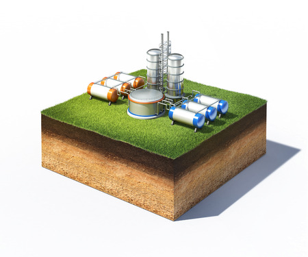 3d illustration of oil refinery factory standing on cross section of ground with grass isolated on white