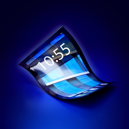 3d illustration of a mobile phone with flexible screen on dark blue background