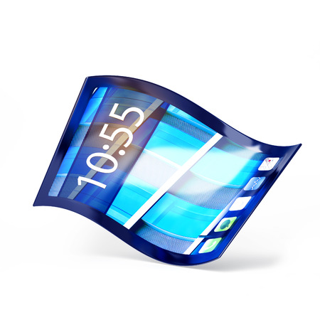 3d illustration of a mobile phone with flexible screen isolated on white