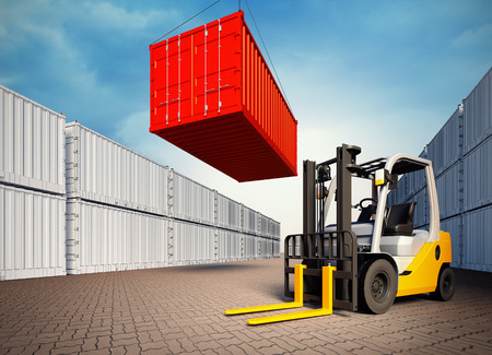 containership: 3d rendered illustration of an industrial port with containers. Loading container on 3d view generated background