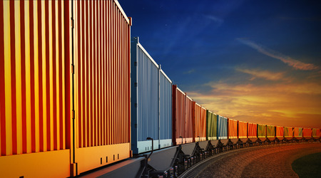railway transportations: 3d illustration of wagon of freight train with containers on the sky background
