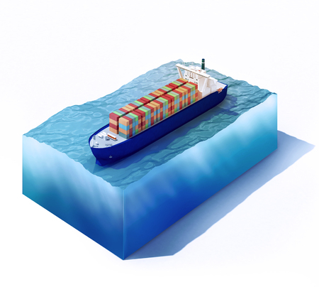 3d rendered illustration of Cargo vessel on part of ocean isolated on white