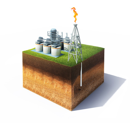 3d model of cross section of ground with grass and oil or gas refinery with smokestack emitting a burning flame. Storage tanks of a petrochemical refinary. Isolated on white