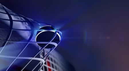 field hockey: 3d rindi� la ilustraci�n de disco en red de la meta del hockey sobre hielo. El disco con l�neas brillantes. Objetivos con profundidad de campo DOF efectos. Lugar para el texto copyspace.